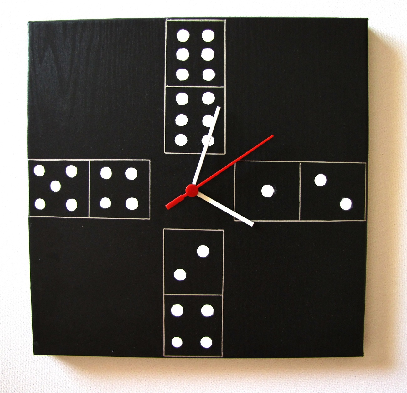 "wall clock black and white DOMINO modern original design 12""x12"" FREE SHIPPING"