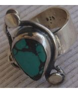 Natural Eilat stone silver ring  MT15 - $32.00