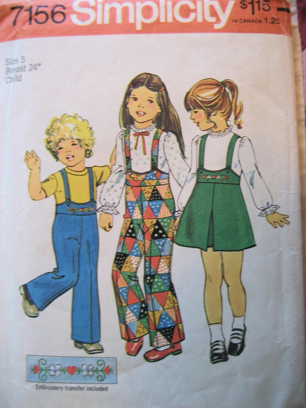 Vintage 70s Pattern Toddler  5 Suspender Pants Skirt S7156 Simplicity New Look
