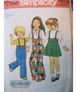 Vintage 70s Pattern Toddler  5 Suspender Pants Skirt S7156 - $9.95