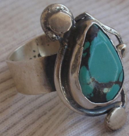 Natural Eilat stone silver ring  MT15