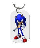 New Sonic The Hedgehog Dog Tag necklace Keychain - $10.00