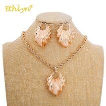Ethlyn Nigerian/African Wedding Jewelry Set Hollow Leaf Pendant Necklace Earring image 4