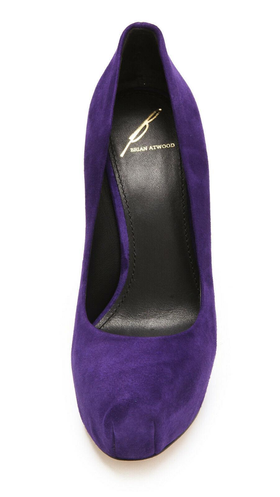 Brian Atwood Savita Platform Pumps Suede Purple, Size 8 M image 3