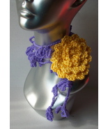 Easter Rose on Your Shoulder Lariat Scarf Yellow and Purple  - $14.99