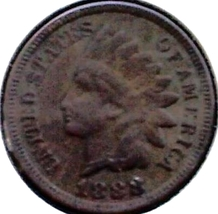 1888 INDIAN HEAD CENT - BRONZE ISSUE - SCARCE DATE - GRADES EF-AU - $25.00