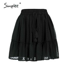 Lace Casual Polka Dot Mini Women SKIRT High Waist A Line with Ruffle - $37.77
