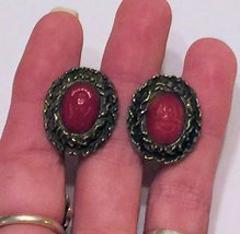VTG 60s Clip On Earrings~Dk Red Oval Scarab Beetle Cabochon/Darkened Gol... - $22.98