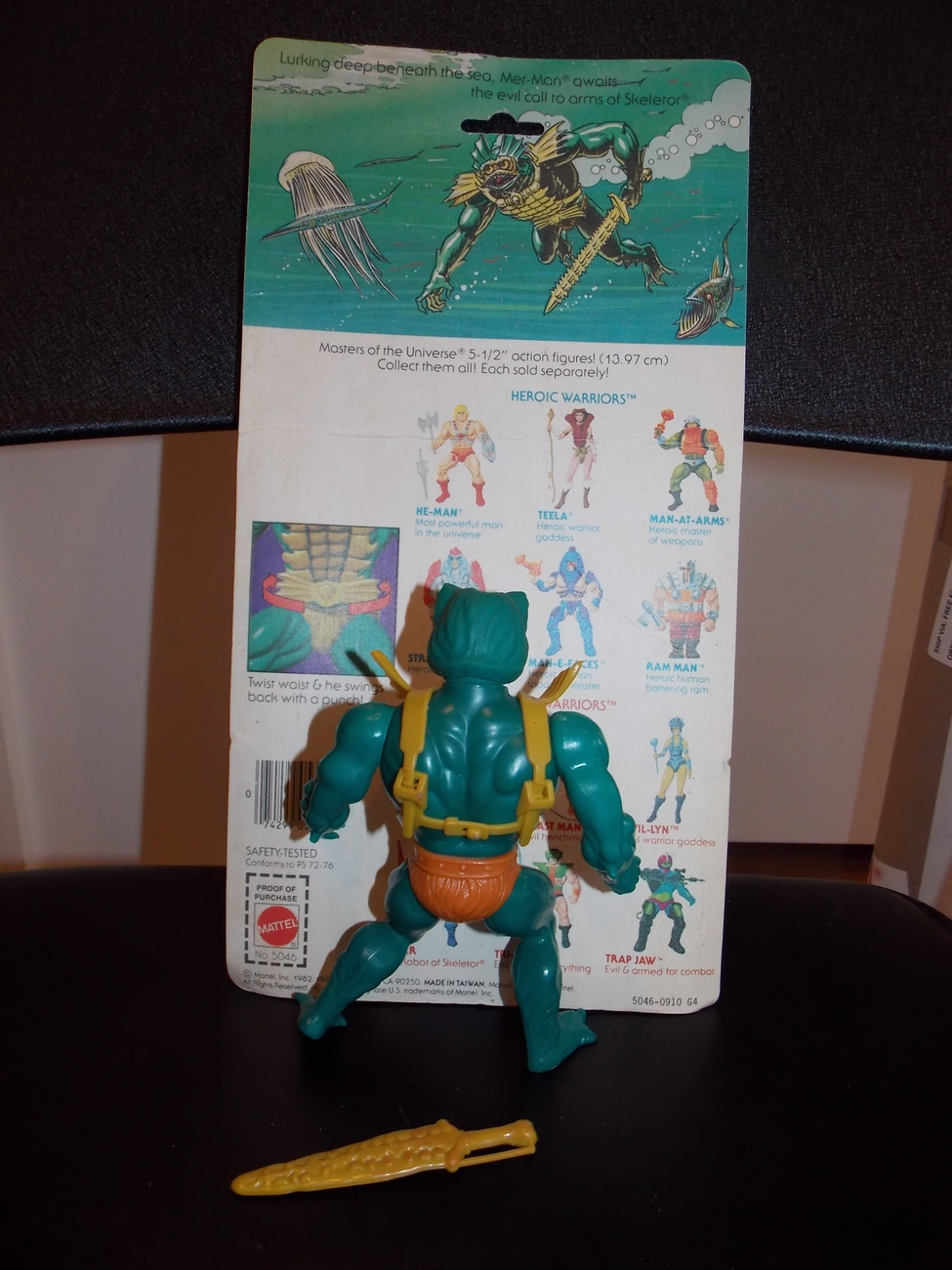 Vintage 1981 Masters Of The Universe Mer-Man Figure Complete With Cardback