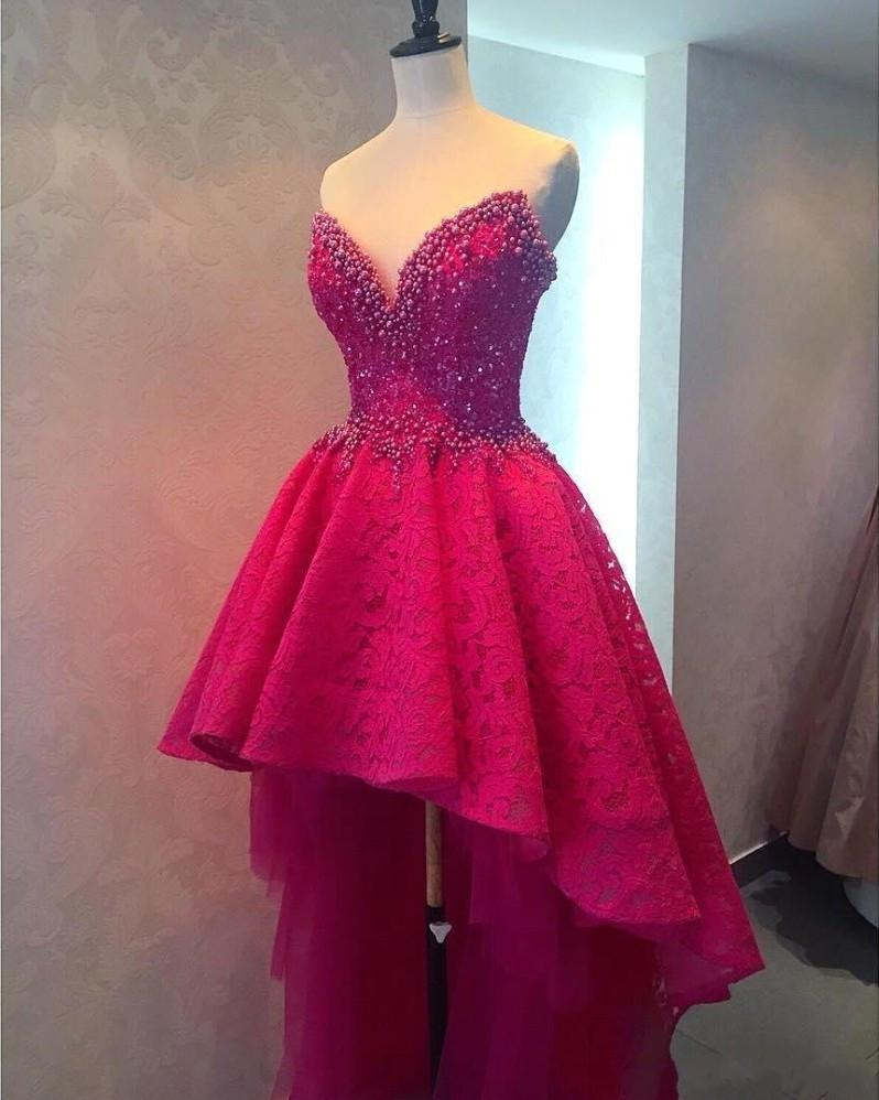 hot pink prom dress,hi-lo prom dress,unique prom dresses,party dress 2018