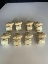 Nikko Woodbury 8 NAPKIN RINGS Cream Beige Porcelain Rabbit Bunny Design - $29.69