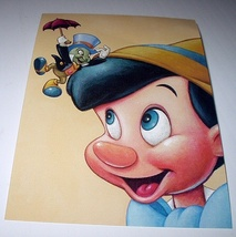Commemoritive Unused Prepaid Postcard-Pinocchio and Jiminy C - $10.00