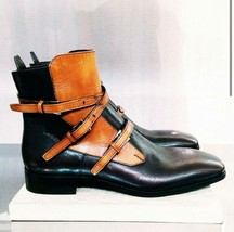 Mens Tan Black Jodhpur Leather Triple Buckle Straps Made To Order Stylish Boots
