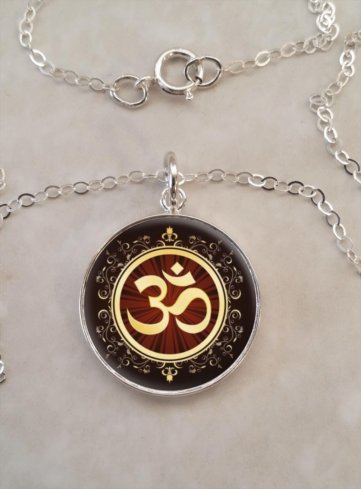 Primary image for Sterling Silver 925 Pendant Necklace Aum Om Meditation Hinduism Buddhism