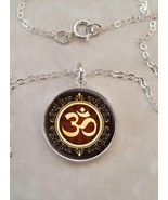 Sterling Silver 925 Pendant Necklace Aum Om Meditation Hinduism Buddhism - $30.20 - $50.00