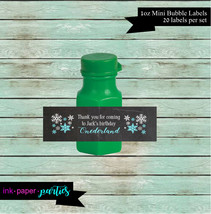 Snowflakes Winter Onederland Birthday Party Mini Bubble Labels Favor Fav... - $3.50