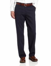 LEE Men's Stain Resist Relaxed Fit Flat Front Pant, Navy, 29W x 32L - $25.95
