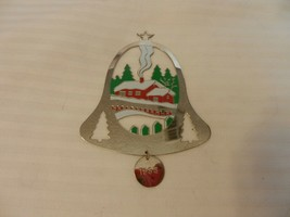 Duchin Holiday Home Scene 1990 Flat Gold Tone Metal Ornament Bell Shape - $11.14