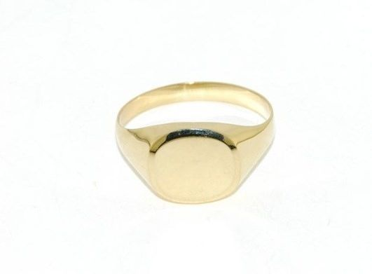 18K YELLOW GOLD BAND MAN RING SQUARE OVAL ENGRAVABLE BRIGHT SMOOTH MADE IN ITALY