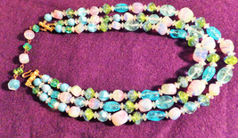 "HATTIE CARNEGIE 3-STRAND NECKLACE,BLUES,PINKS,&GREENS,FROM14""TO20""HOOK C... - $49.00"
