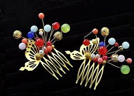 Set Of 2 Charming Traditional Chinese Wedding Bead Hair Combs Accessory