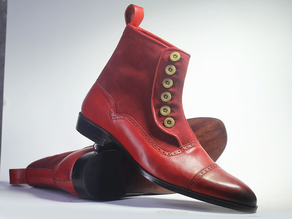 Handmade Men's Burgundy Leather & Suede High Ankle Burnished Toe Buttons Boots