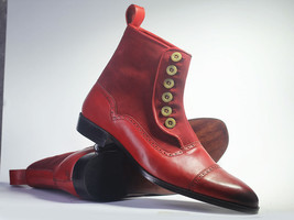 Handmade Men's Burgundy Leather & Suede High Ankle Burnished Toe Buttons Boots image 1