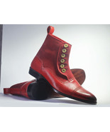 Handmade Men's Burgundy Leather & Suede High Ankle Burnished Toe Buttons... - $149.99