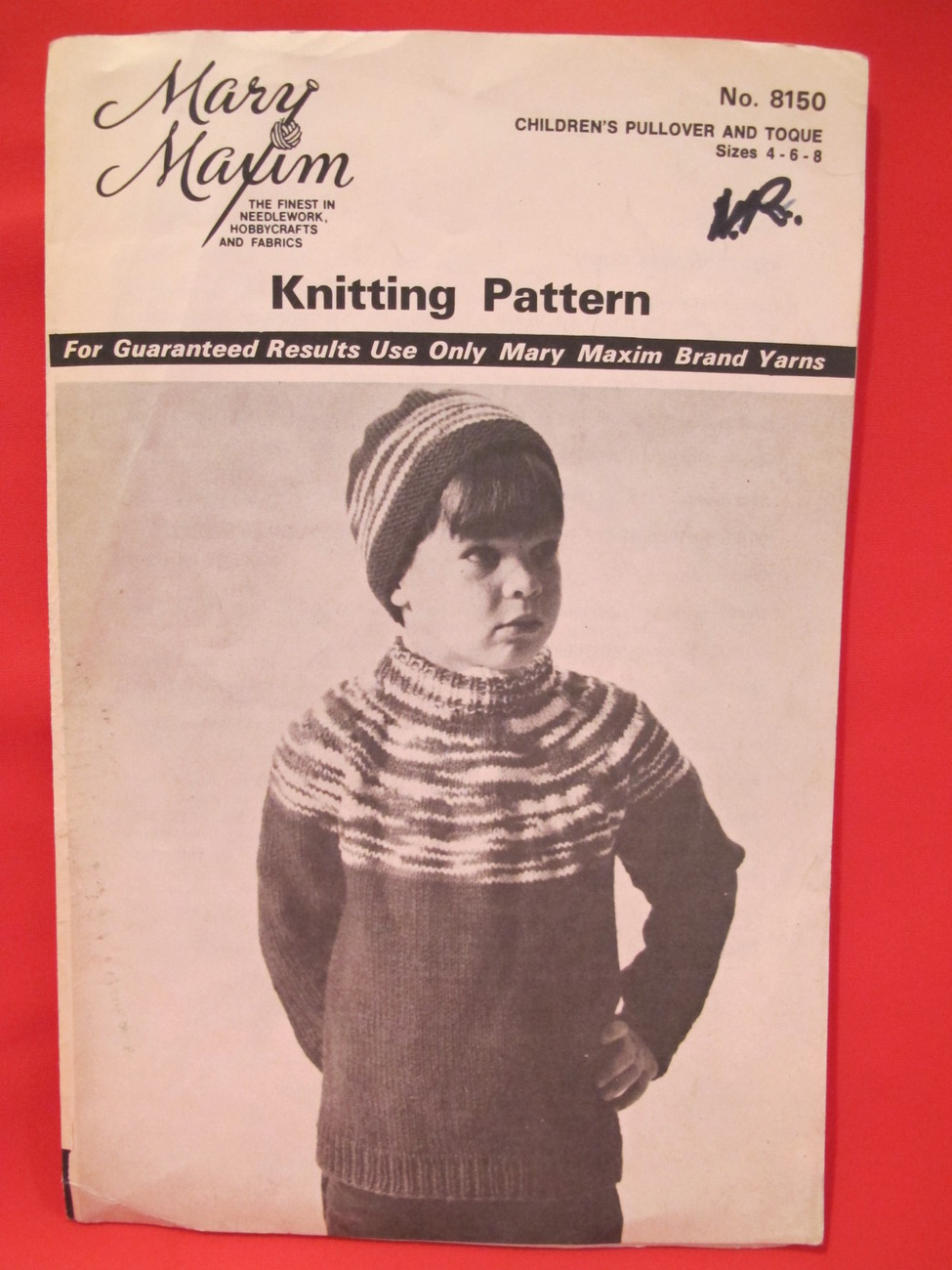 Vintage Mary Maxim Knitting Pattern CHILDRENS Size 4 - 8 Pullover Sweater Toque