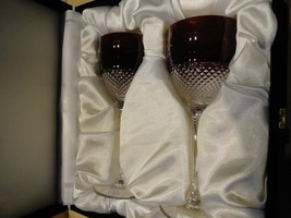 Faberge Crystal Cobalt Ruby Red  Goblet Glasses without box - $425.00