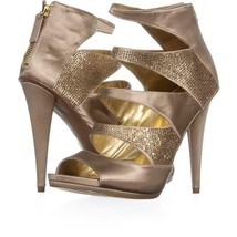 Nine West Amability Peep Toe Cut Out Strap Sandals 151, Light Gold, 8.5 US - $31.67