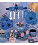 Plastic Canvas Kitchen Mouse Mice Key Utensil Spoon Holder Memo Coaster ... - $12.99
