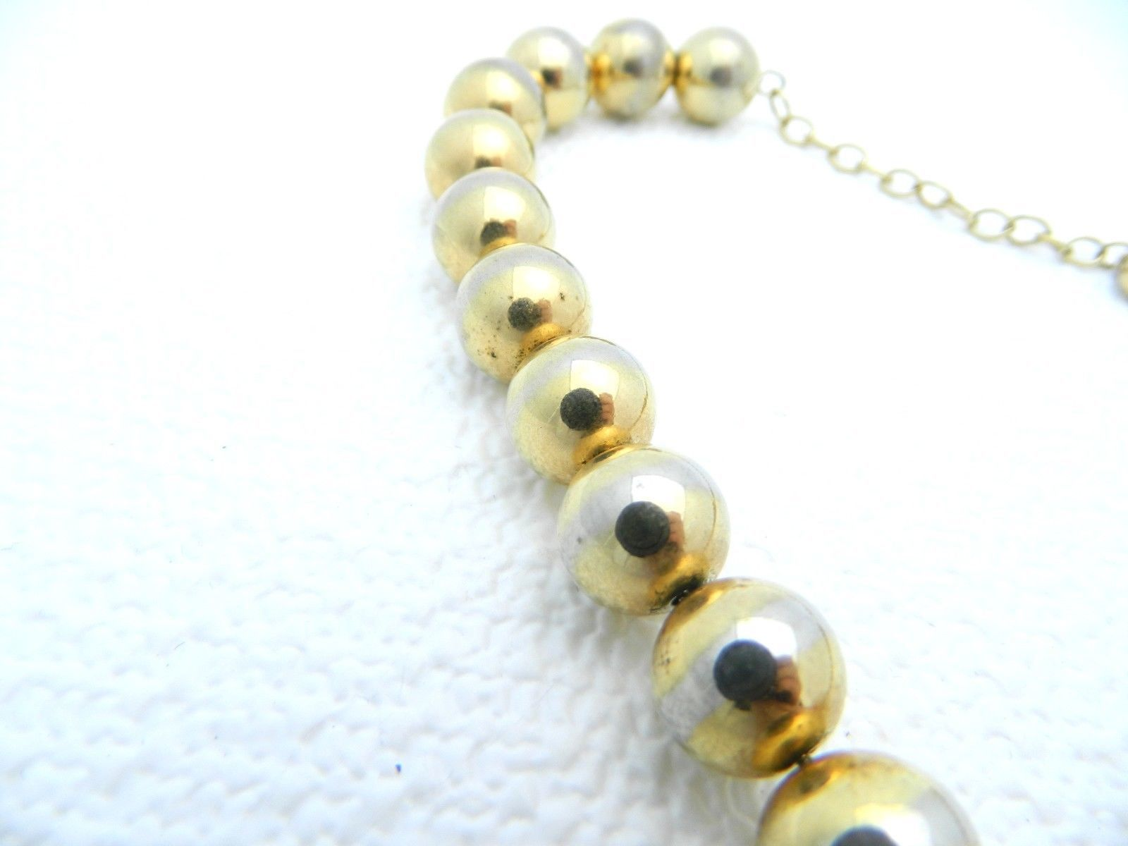 VTG Gold Toned SARAH COVentry Signed Metal Bead Beaded Choker Necklace