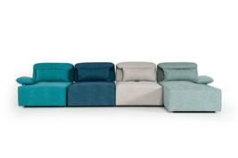 Divani Casa Jamie Modern Multi-Colored Blue Fabric Sectional - $1,999.00