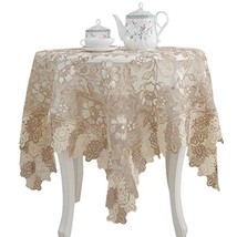 Lace Polyester Round Tablecloth Embroidery Round Table Cloths for Party ... - $51.72