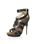 new L.A.M.B. beatrice Dress Sandals / heels black leather size 8.5 M - $280.00