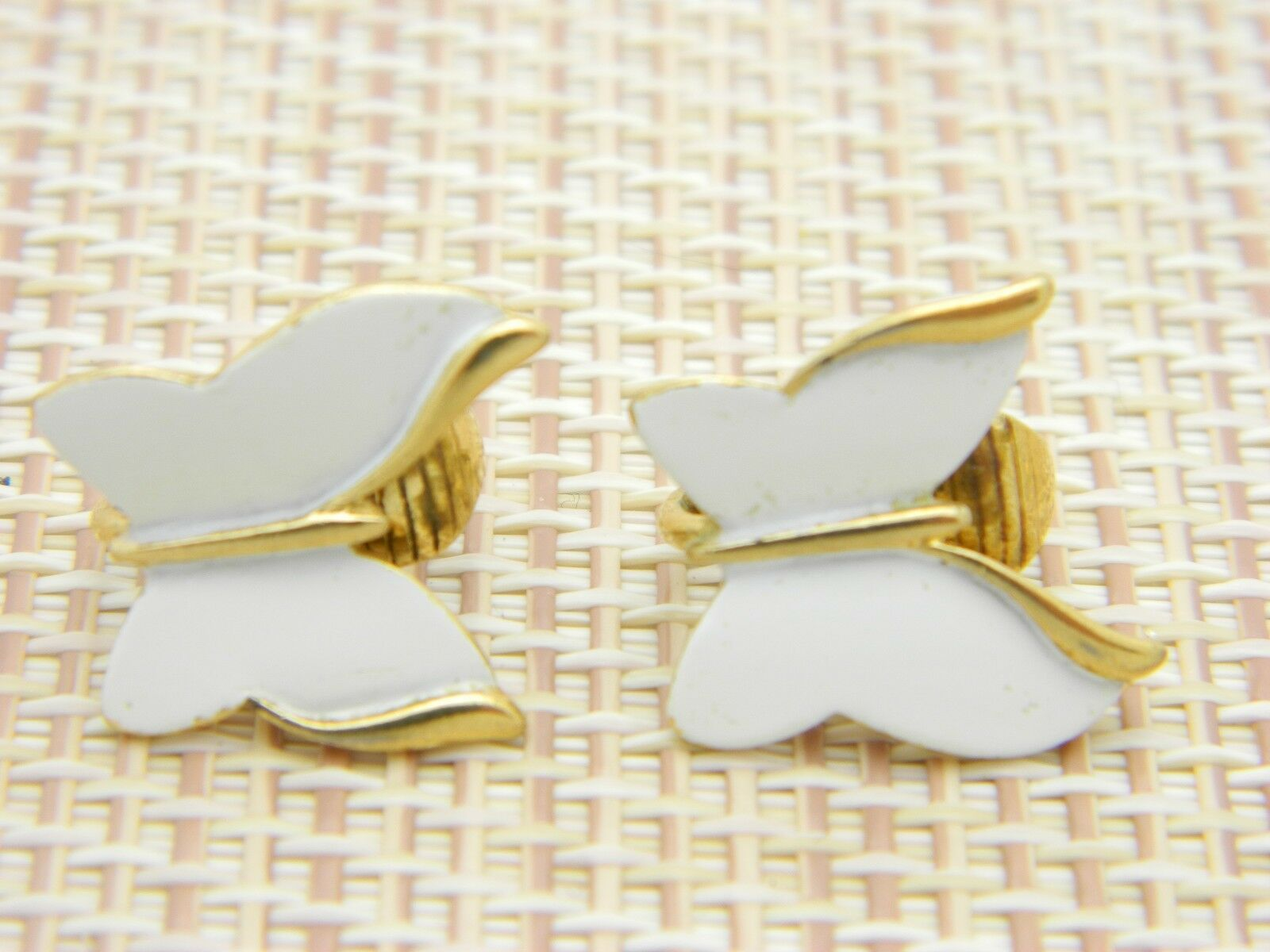 CROWN TRIFARI Gold Tone White Enamel Butterfly Clip Earrings