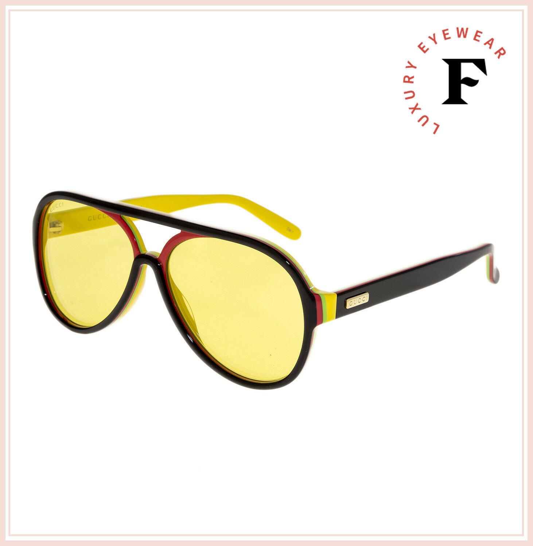 GUCCI 0270 Black Red Yellow Stripe Retro Aviator Unisex Sunglasses GG0270S