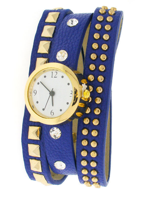 Watch - Royal Blue Leather Wrap Wristwatch - 254029572 image 1