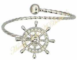 Captain's Ship Wheel Skull Bangle Bracelet Clear Crystal Silvertone Nautical - $15.99