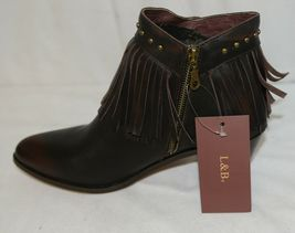 Lucky And Blessed SH11 Dark Brown Leather Boots Fringe Metal Studs Size 11 image 6