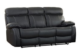 Homelegance Pendu Reclining Sofa Top Grain Leather Match, Black - $987.23