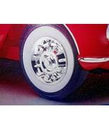 1957 CORVETTE STOCK CHROME HUB CAPS PERIOD CORRECT WIDE WHITE WALL TIRES... - $9.45