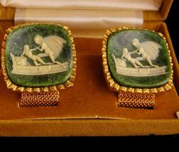 Neoclassical cufflinks / Vintage angel Cufflinks / erotic lovers / HUGE Nude que - $225.00