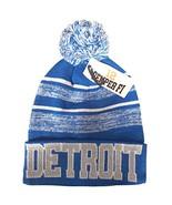 Detroit Men's Blended Stripe Winter Knit Pom Beanie Hat (Light Blue/Gray) - $13.75
