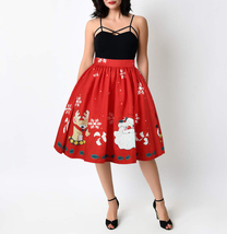 Women A-line Christmas Print Skirt Christmas Knee Length Swing Midi Skirt- red