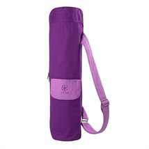 Gaiam Yoga Mat Bag Carrier Purple Canvas Fits Most Mats Large Pocket New - $21.25