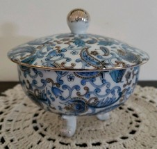 Lefton China ~ Blue & White Paisley Design ~ Footed ~ Covered Candy Dish - $35.64