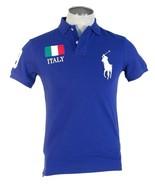 Polo Ralph Lauren Custom Fit Italy Blue Short Sleeve Polo Shirt Big Pony... - $119.99
