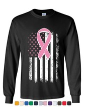 Pink Ribbon Distressed Flag Long Sleeve Tee Breast Cancer Awareness - $10.20+